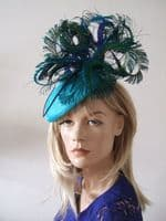Turquoise Blue Green Peacock Ostrich and Pheasant Feathered Beret Headpiece Hat